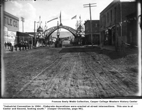 """Industrial Convention in 1904 - Elaborate decorations were erected at street intersections. This one is at Center and Second, looking south."""