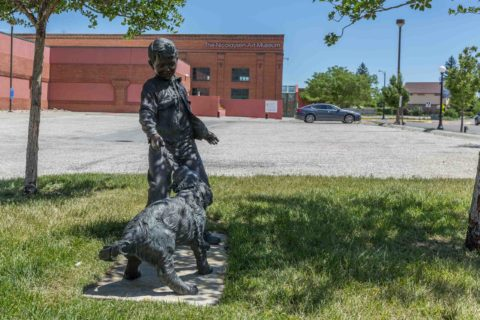 Boy and Dog Statue Downtown Casper Wyoming