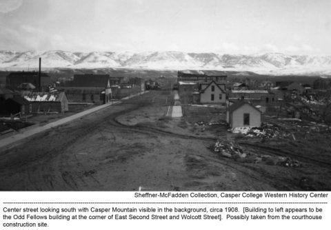 Center Street looking south with Casper Mountain visible in the background, circa 1908. Building to left appears to be the Odd Fellows building at the corner of East Second Street and Wolcott Street. Possibly taken from the courthouse construction site. Sheffner-McFadden Collection. Casper College Western History Center.