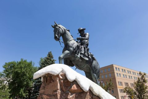 Cowboy in Snow Statue Downtown Casper Wyoming
