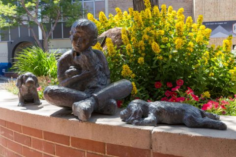 Dogs and Child Statue Downtown Casper Wyoming
