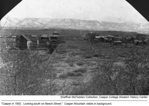 Casper in 1902. Looking south on Beech Street. Casper Mountain visible in background. Sheffner-McFadden Collection. Casper College Western History Center.