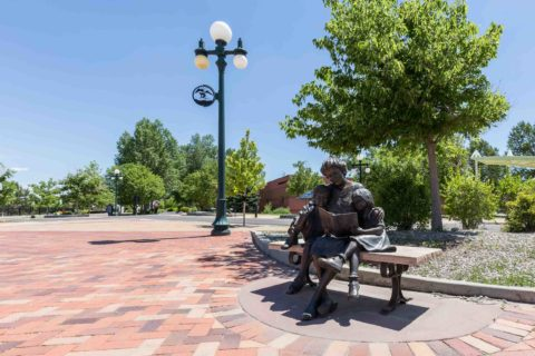 Mother Reading to Children Statue Downtown Casper Wyoming