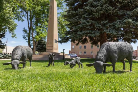 Sheep and Obelisk Statue Downtown Casper Wyoming