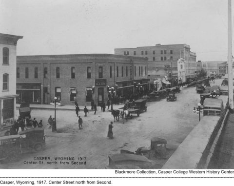 Casper, Wyoming, 1917. Center St north from Second.