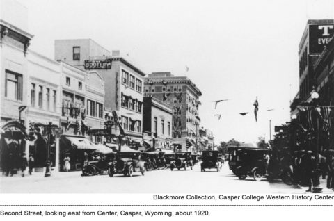 Second Street, looking east from Center, Casper, Wyoming, about 1920.