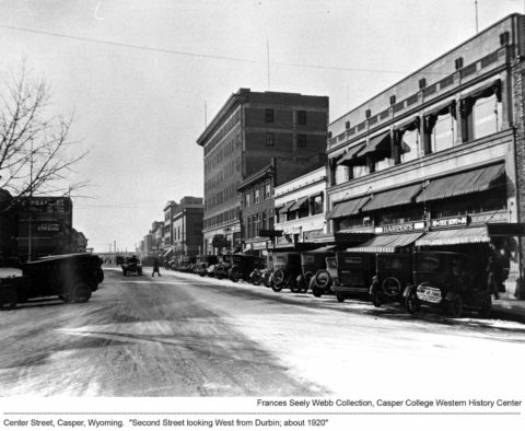 Center Street, Casper, Wyoming. Second Street looking West from Durbin, about 1920.