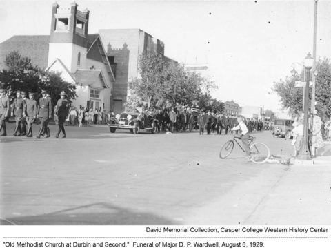 """Old Methodist Church at Durbin and Second."" Funeral of Major D. P. Wardwell, August 8, 1929. David Collection, Casper College Western History Center."