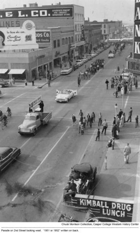 Parade on 2nd Street looking west. 1951 or 1952.