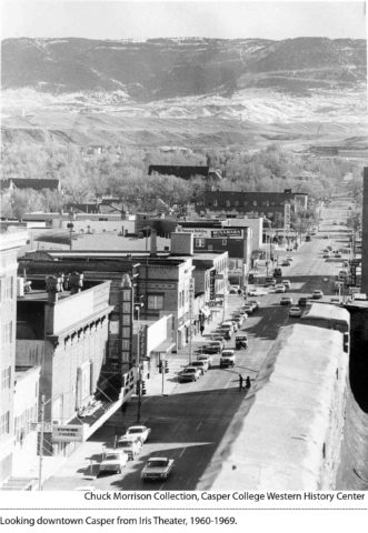 Looking downtown Casper from Iris Theater, 1960-1969.
