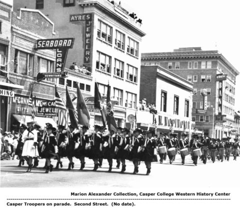 Casper Troopers on parade. Second Street. Marion Alexander Collection, Casper College Western History Center.