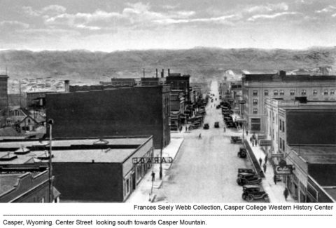 Casper, Wyoming. Center Street looking south towards Casper Mountain.
