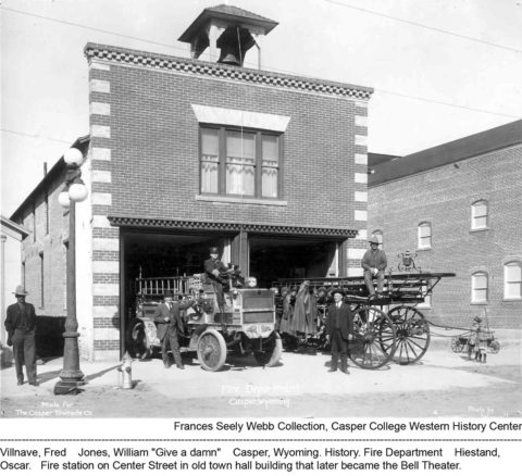Casper Fire Department, Center Street, 1910-1912. Photo by Wiswall. Frances Seely Webb Collection, Casper College Library.