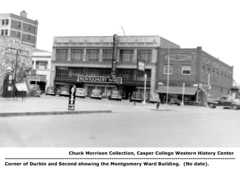 Corner of Durbin and Second showing the Montgomery Ward Building. Chuck Morrison Collection, Casper College Western History Center.