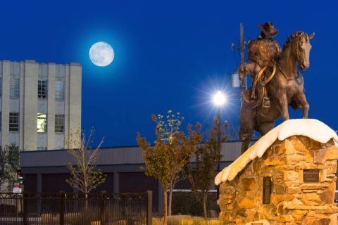 Moonlit Cowboy Statue Downtown Casper Wyoming